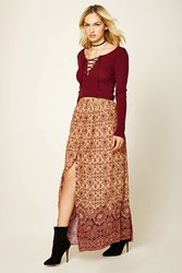 Forever 21 Contemporary Baroque Maxi Skirt Burgundy Rust