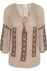 Joie Embroidered Printed Silk Georgette Blouse Beige