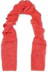 M Missoni Open And Crochet Knit Scarf Coral