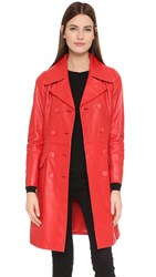 Boutique Moschino Leather Trench Coat Red