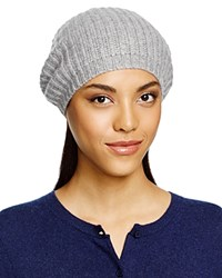 C By Bloomingdale's Cashmere Ribbed Slouchy Hat Pale Gray