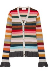 Allude Ruffled Striped Wool Blend Cardigan Pink