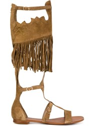 Ash Fringed Strappy 'Margot' Gladiator Sandals Brown