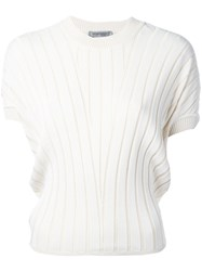 Sportmax Ribbed Knit T Shirt Women Polyamide Viscose M Nude Neutrals