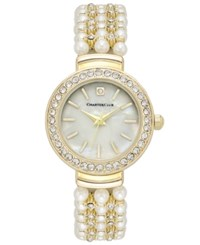 Charter Club Women's Crystal Gold Tone Imitation Pearl Bracelet Watch 28Mm Only At Macy's