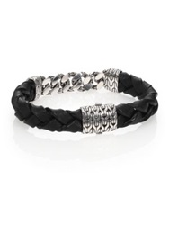 John Hardy Classic Chain Gourmette Silver Link And Leather Bracelet Black Silver