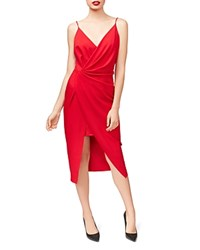Betsey Johnson Scuba Crepe Faux Wrap Dress Flame