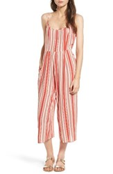 Band Of Gypsies Women's Stripe Crop Jumpsuit Ivory Coral