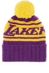 The Elder Statesman X Nba Men's Lakers Cashmere Pom Pom Beanie Purple