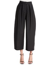 Donna Karan Wide Leg Cropped Jacquard Pants Black