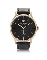 Locman 1960 Rose Gold Pvd Stainless Steel Men's Watch W Black Croco Embossed Leather Strap