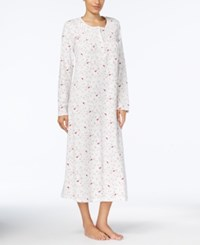 Charter Club Printed Smocked Cotton Nightgown Created For Macy's Ivory Cardinal