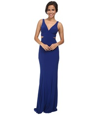 Faviana Jersey V Neck Side Out 7541 Royal Women's Dress Navy