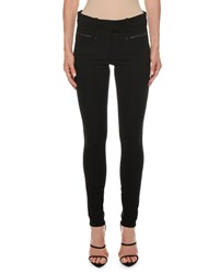 Tom Ford Leather Trim Zip Pocket Stretch Leggings Black