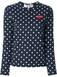 Comme Des Garcons Play Polka Dot Sweater Blue