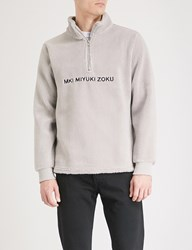 Mki Miyuki Zoku Logo Embroidered Fleece Jumper Grey