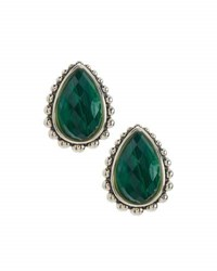 Lagos Maya Large Malachite Doublet Button Earrings Green