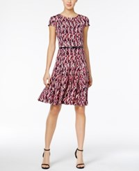 Jessica Howard Belted Printed Fit And Flare Dress Pink