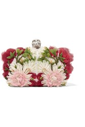 Alexander Mcqueen Skull Floral Appliqua D Tulle And Satin Box Clutch