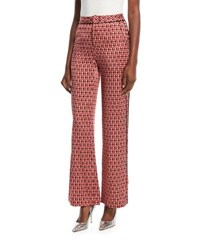 Johanna Ortiz Acapulco Desert Tile Print Straight Leg Silk Satin Pants Red