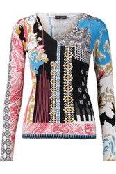 Etro Printed Silk And Cashmere Blend Sweater Blue