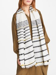 And Or Textured Bobble Stripe Scarf White Multi