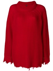 R 13 R13 Distressed Loose Sweater Red