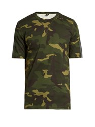 Adidas By Day One Camouflage Print Cotton Jersey T Shirt Green Multi