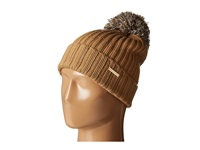 Michael Michael Kors Fisherman Rugby Cuff Hat With Self Knit Multicolor Pom Pom Dark Camel Cream Derby Knit Hats Brown