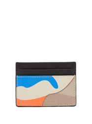 Valentino Camouflage Canvas And Leather Cardholder Blue Multi