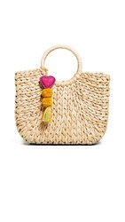 Hat Attack Small Round Handle Tote Natural Multi