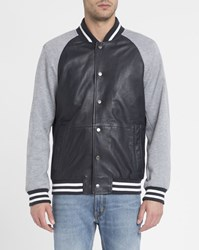 Tommy Hilfiger Navy And Grey College Leather Jersey Baseball Jacket Blue