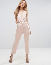 Asos Cami Wrap Jumpsuit With Peg Leg In Satin Nude Pink