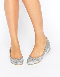 London Rebel Block Heel Glitter Ballerina Silver Glitter