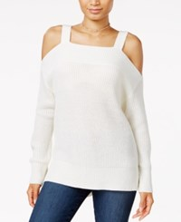 Sanctuary Amelie High Low Cold Shoulder Sweater Winter White
