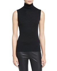 Rag And Bone Briony Sleeveless Slub Turtleneck Top Black