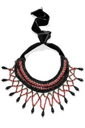 Etro Velvet Gold Tone Crystal And Beaded Necklace Black