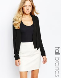 Y.A.S Tall Waterfall Front Blazer Black