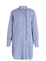 Msgm Gingham Ruffle Trimmed Shirtdress Blue White