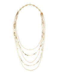 Lydell Nyc Long Five Row Delicate Beaded Necklace Multi