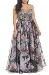 Mac Duggal Plus Size Women's Embellished Flora Strapless Sweetheart Gown Waterlily