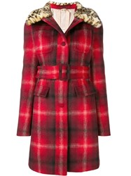 N 21 No21 Checked Belted Coat Red