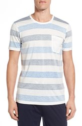 Daniel Buchler Men's Pima Cotton And Modal Crewneck T Shirt White Blue Grey
