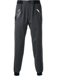 Les Hommes Paneled Cuffed Trousers Black