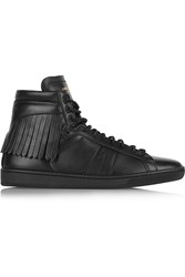Saint Laurent Fringed Leather High Top Sneakers