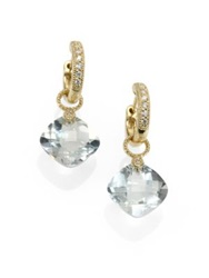 Jude Frances Classic Green Amethyst Diamond And 18K Yellow Gold Small Cushion Earring Charms Gold Green Amethyst