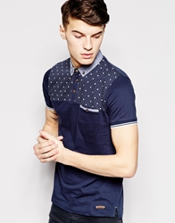 Brave Soul Bravesoul Polo Shirt In Stars And Spot Print Navy
