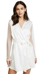 Flora Nikrooz Showstopper Charmeuse Robe With Lace Ivory