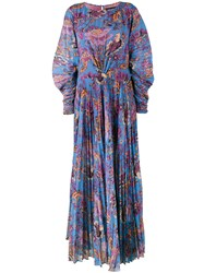 Etro Floral Print Maxi Dress With Pleated Front And Sleeves Silk Polyester Blue
