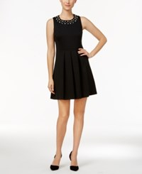Charter Club Petite Embellished Fit And Flare Dress Only At Macy's Deep Black